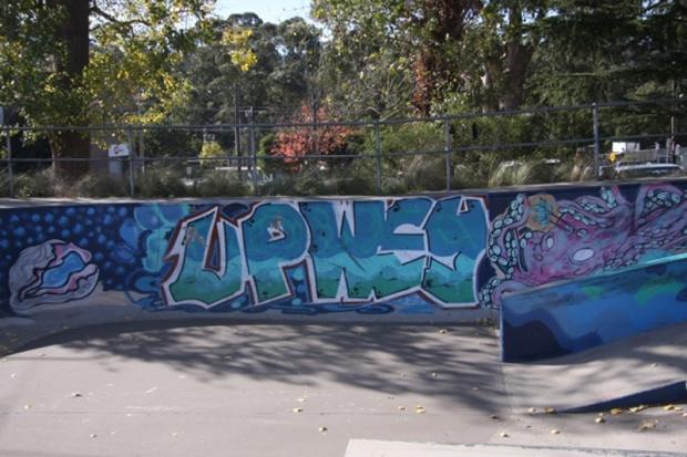 skatepark mural upwey