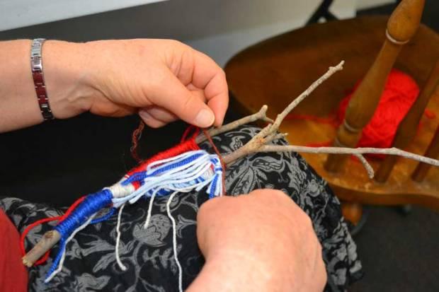 Bev Pergl weaving