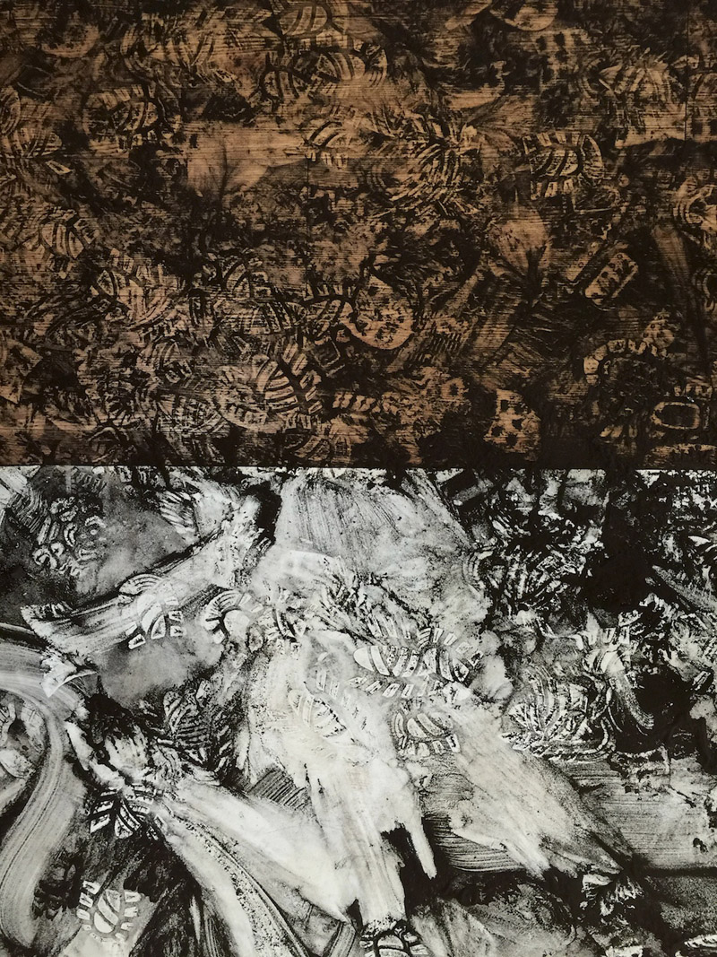 Veit Hartmut, Intra-action (Hazelwood brown coalMorwell)2,  coal dust printpainting, 2015