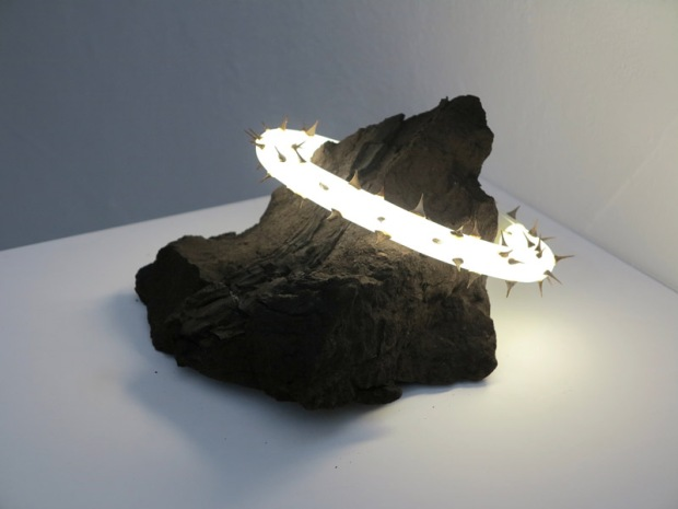 Veit Hartmut, Material Vilification, brown coal and neon sculpture, 2015