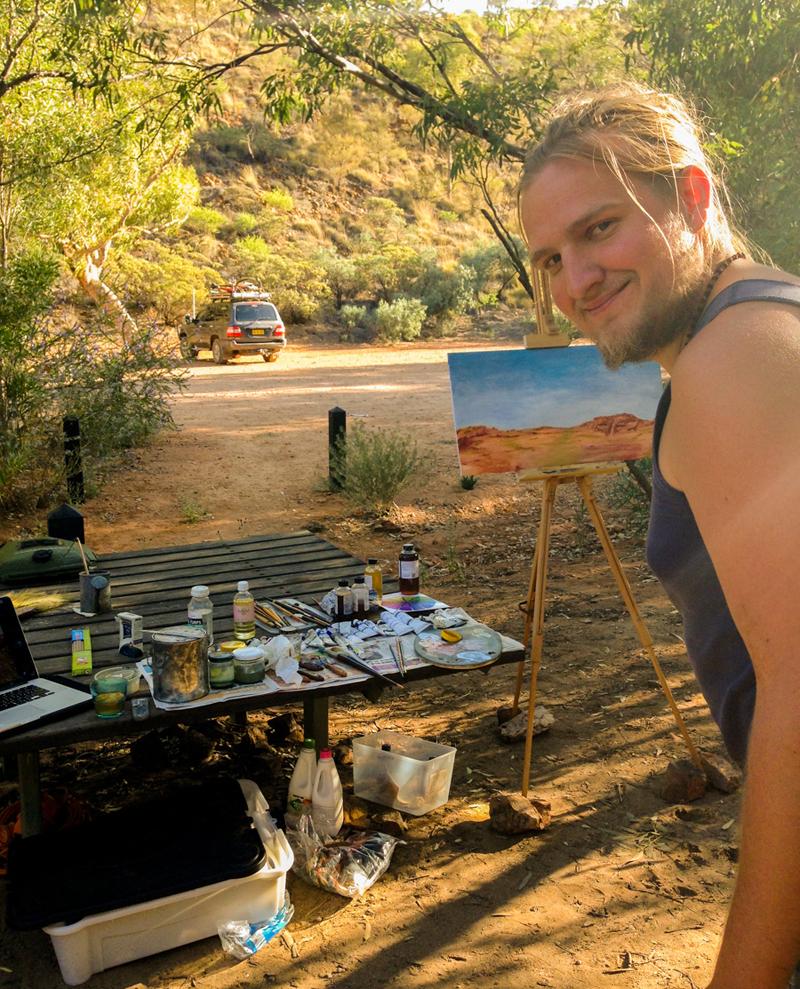Daniel Rigos painting outside